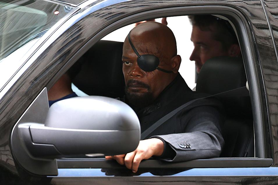 "Samuel L Jackson looks beaten up on the set of Captain America 2 ""Winter Soldier"" filming in Ohio"