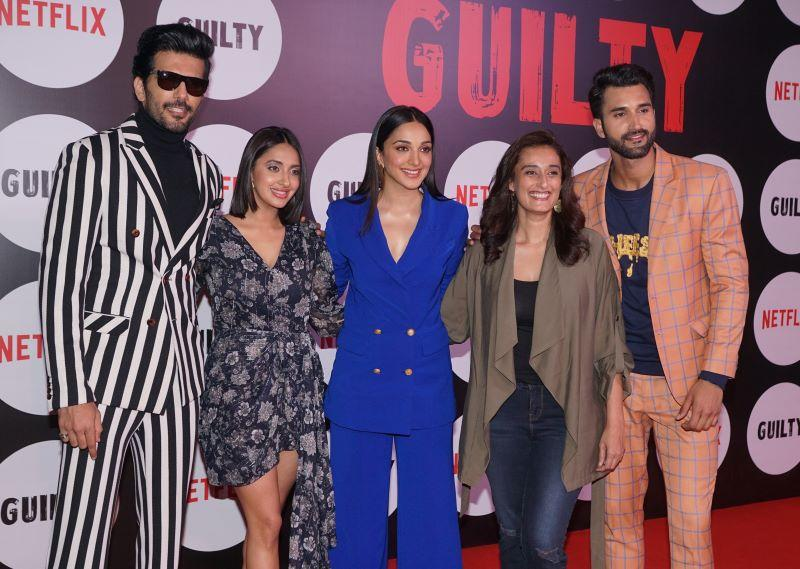 "Taher Shabbir, Taher Shabbir, Akansha Ranjan Kapoor, Kiara Advani, Ruchi Narain and Gurfateh Singh Pirzada attend the special screening of the film ""Guilty"" on March 04, 2020 in Mumbai, India."