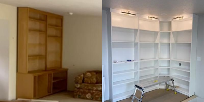This Couple Turned IKEA Bookshelves Into a Gorgeous, Built-In Library