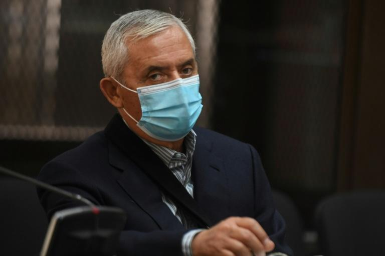 Jailed Guatemala ex-president Otto Perez at a court hearing in Guatemala City on May 12, 2020
