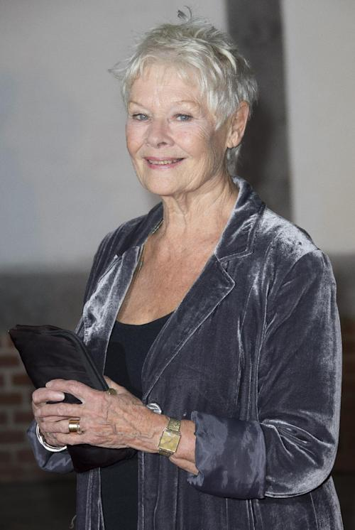 "FILE - This Oct. 17, 2013 file photo shows British actress Judi Dench at the Globe Theatre in central London, for a Gala evening in support of a new indoor theatre, the candle-lit Sam Wanamaker Playhouse. Dench resurrected Her James Bond character M in a video released Thursday, Nov. 7, as part of the Weinstein Co.'s appeal to the Motion Picture Association of America to change the rating of Dench's latest film,""Philomena."" The MPAA has given the film an R rating for language, but the Weinstein Co. wants it changed to PG-13. The film is set for release later this month. (Photo by Joel Ryan/Invision/AP, File)"