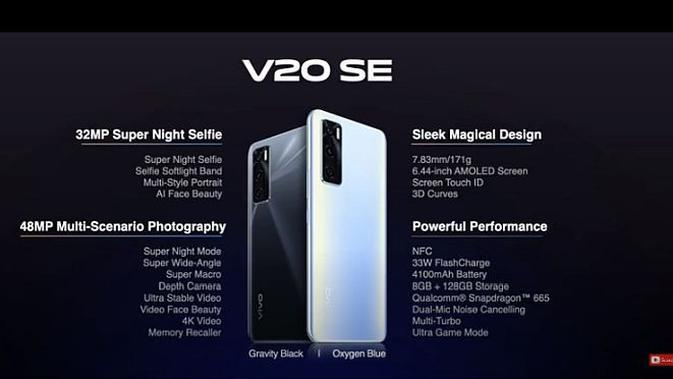 Vivo V20 SE (screenshot di YouTube Vivo Indonesia)