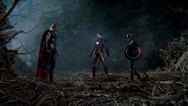 Thor, Iron Man, and Captain America stand strong in The Avengers, which Pattinson probably watched over and over again (Image by Warner Bros)