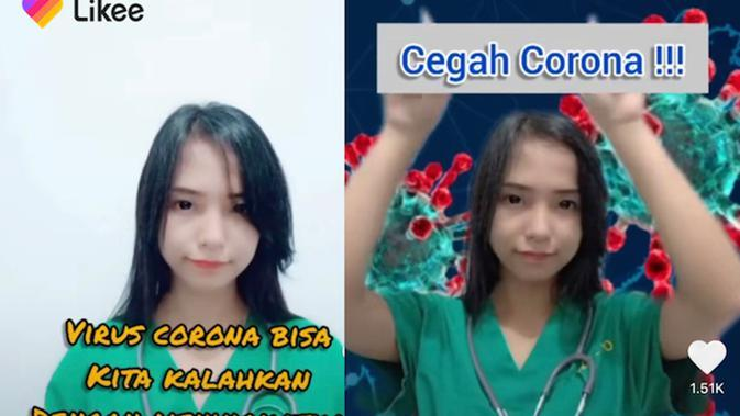 Anggriani, seorang perawat asal Medan, Sumatra Utara, yang rawat pasien corona COVID-19. (dok. Likee)