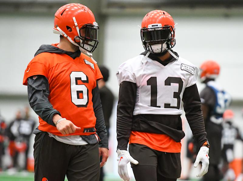 BEREA, OH - JUNE 6, 2019: Wide receiver Odell Beckham Jr. #13 of the Cleveland Browns talks with quarterback Baker Mayfield #6 during a mandatory mini camp practice on June 6, 2019 at the Cleveland Browns training facility in Berea, Ohio. (Photo by: 2019 Nick Cammett/Diamond Images via Getty Images)