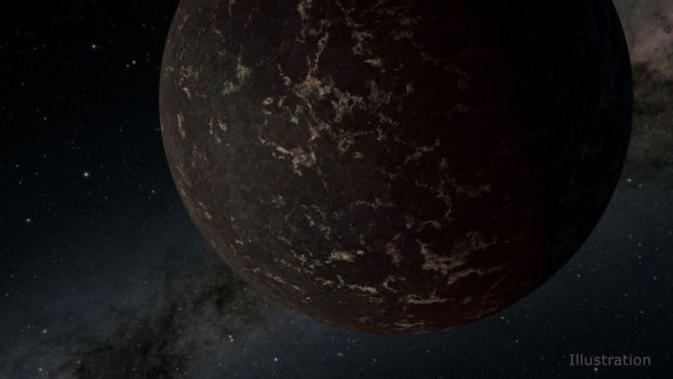 Ilustrasi planet ekstrasurya LHS 3844b, yang mungkin memiliki permukaan berbatu mirip dengan bulan Bumi. (NASA / JPL-Caltech / R. Hurt (IPAC))