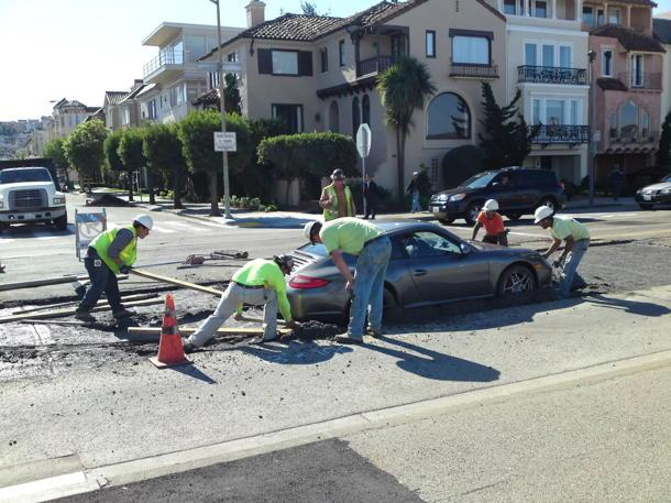 Porsche stuck in wet cement: Proof karma exists?