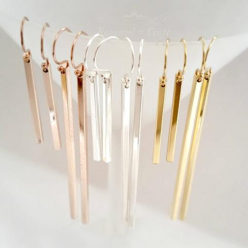 long fringe shaggy stick cluster of matte delicate silver finish bar dangles Solid Silver Thin Rose Gold Bar Earrings for tall women