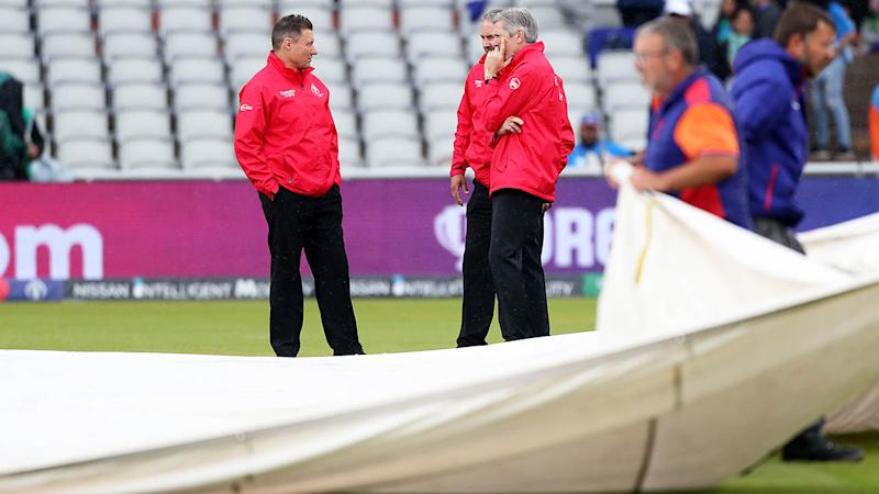 Umpires during an inspection as rain stops play. (Photo by David Davies/PA Images via Getty Images)
