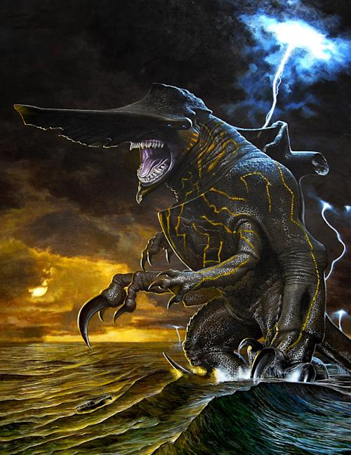 "This conceptual art image released by Warner Bros. Pictures shows the Knifehead monster from the film, ""Pacific Rim."" ""Pacific Rim"" fulfills a very basic boyhood fantasy: big ol' robots and giant monsters slugging it out. The concept to Guillermo del Toro's ""Godzilla""-sized film is about as simple as it gets, but actually constructing such mammoth creations is a far more arduous undertaking. (AP Photo/Warner Bros. Pictures)"
