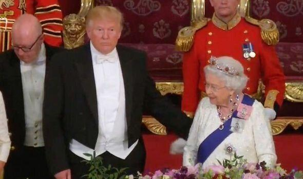 President Donald Trump touching the Queen at state dinner