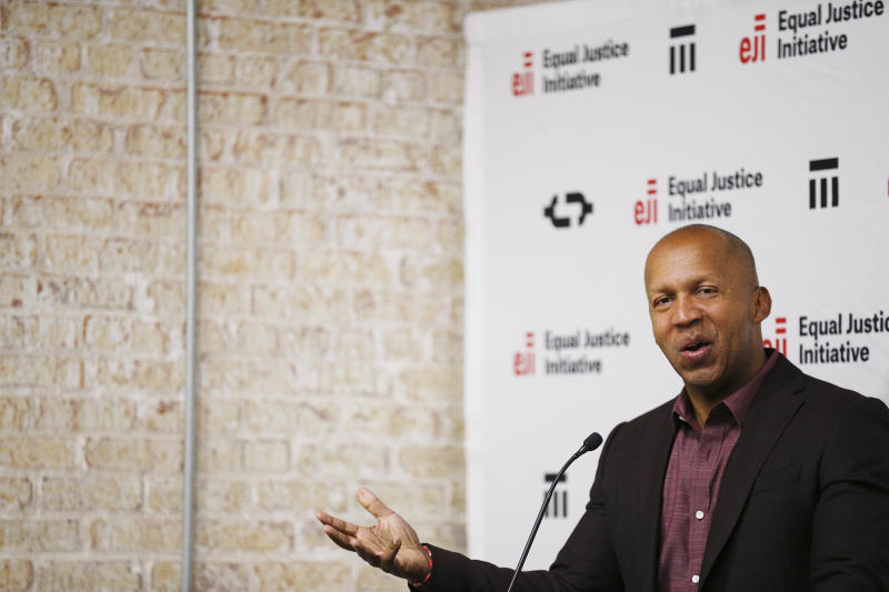 """FILE - In this April 23, 2018, file photo, Bryan Stevenson speaks at a news conference in Montgomery, Ala., about the National Memorial for Peace and Justice, and the Legacy Museum opening that will honor thousands of people killed in lynchings. """"Our continued silence about the history of racial injustice has fueled many of the current problems surrounding police violence, mass incarceration, racial inequality and the disparate impact of COVID-19,"""" said Stevenson, director of the Equal Justice Initiative. (AP Photo/Brynn Anderson, File)"""