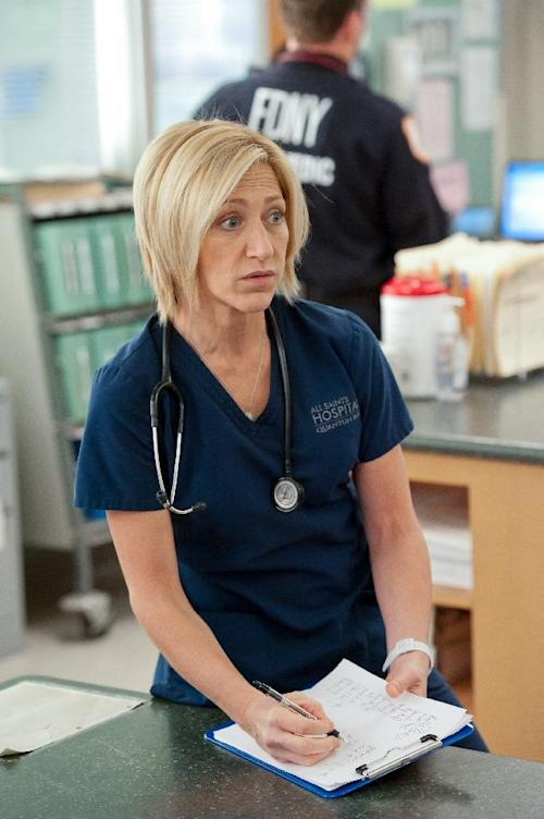"This image released by Showtime shows Edie Falco as Jackie Peyton in an episode of ""Nurse Jackie."" Falco was nominated for an Emmy award on Thursday, July 19, 2012 for outstanding lead actress in a comedy. series. The 64th annual Primetime Emmy Awards will be presented Sept. 23 at the Nokia Theatre in Los Angeles, hosted by Jimmy Kimmel and airing live on ABC. (AP Photo/Showtime, David M. Russell)"