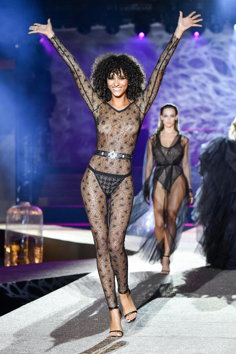 A model walks the runway during the Etam Winter 2019/Summer 2020 show as part of Paris Fashion Week At Roland Garros on September 24, 2019 in Paris