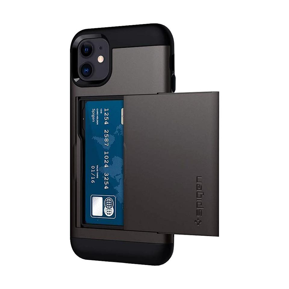"""<p><strong>Spigen</strong></p><p>amazon.com</p><p><strong>$17.99</strong></p><p><a href=""""https://www.amazon.com/dp/B07T5X8TL4?tag=syn-yahoo-20&ascsubtag=%5Bartid%7C2089.g.1994%5Bsrc%7Cyahoo-us"""" target=""""_blank"""">Shop Now</a></p><p>This inconspicuous iPhone wallet case option securely stores up to two cards in its backside compartment. Its dual-layered body offers superior drop protection while still maintaining a slim profile that's pocket-friendly. </p><p>The case is available in several color options, including gunmetal gray, black, and rose gold. You can also order the accessory for the <a href=""""https://www.amazon.com/dp/B07T3Q37LK?tag=syn-yahoo-20&ascsubtag=%5Bartid%7C2089.g.1994%5Bsrc%7Cyahoo-us"""" target=""""_blank"""">iPhone 11 Pro</a> and <a href=""""https://www.amazon.com/dp/B07SZJP2PQ?tag=syn-yahoo-20&ascsubtag=%5Bartid%7C2089.g.1994%5Bsrc%7Cyahoo-us"""" target=""""_blank"""">iPhone 11 Pro Max</a>, as well as the <a href=""""https://www.amazon.com/dp/B01GIVWS2C?tag=syn-yahoo-20&ascsubtag=%5Bartid%7C2089.g.1994%5Bsrc%7Cyahoo-us"""" target=""""_blank"""">latest iPhone SE</a> and <a href=""""https://www.amazon.com/Spigen-Armor-Designed-Apple-iPhone/dp/B07GHYZBKL?tag=syn-yahoo-20&ascsubtag=%5Bartid%7C2089.g.1994%5Bsrc%7Cyahoo-us"""" target=""""_blank"""">older iPhone models</a>. </p>"""