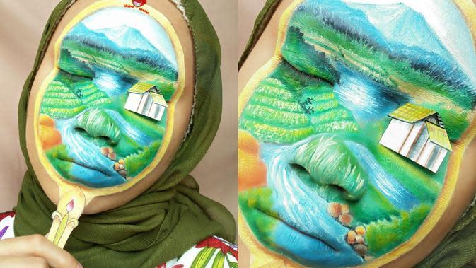 Keren Banget, Wanita Ini Rias Wajahnya ala Suasana Pedesaan