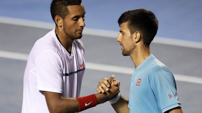 Novak Djokovic and Nick Kyrgios in 2017. (Photo by Miguel Tovar/LatinContent/Getty Images)