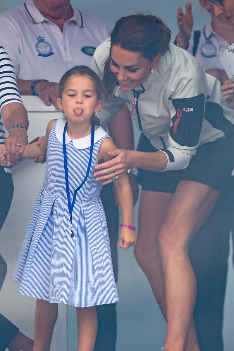 Princess Charlotte pictured with her tongue out at the King's Cup yachting regatta