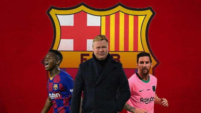 Barcelona - Ansu Fatih, Ronald Koeman, Lionel Messi (Bola.com/Adreanus Titus)