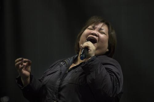 Fostanes, a Filipina caregiver, performs during a rehearsal for Israel's X-Factor talent show in Tel Aviv