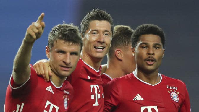 Selebrasi Pemain Bayern Munchen saat melawan Lyon di semifinal Liga Champions (AP)