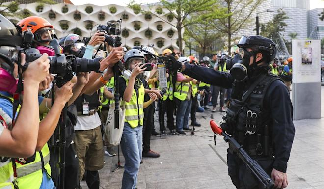 There have been tensions between police and journalists covering protests. Photo: Sam Tsang