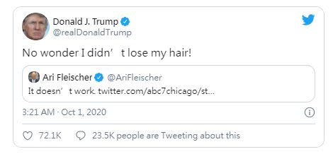 美國總統川普新的推特說自己的頭沒有禿。(圖/翻攝自推特)