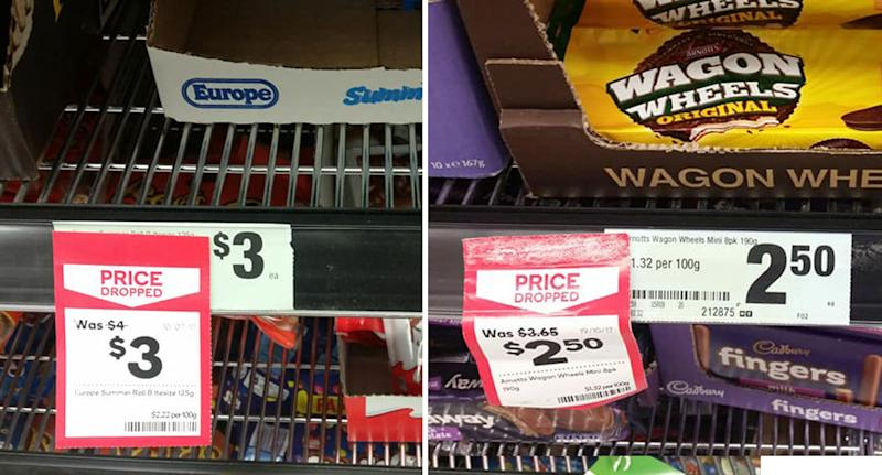 """""""Misleading"""" price tags for Summer Rolls and Wagon Wheels shown inside Kippa Ring Woolworths in Queensland"""