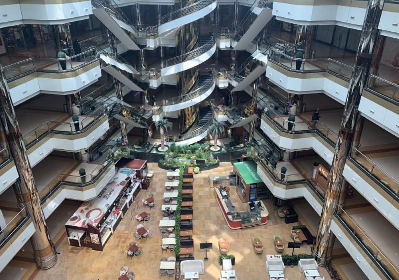 The Sun City Mall is seen almost empty, following Egyptian government instructions with immediate effect to ramp up efforts to slow the spread the coronavirus disease (COVID-19), at the Egyptian capital Cairo