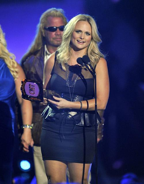 "Miranda Lambert accepts the award for CMT performance of the year for ""Over You"" from ""2012 CMT Artists of the Year"" at the 2013 CMT Music Awards at Bridgestone Arena on Wednesday, June 5, 2013, in Nashville, Tenn. (Photo by Donn Jones/Invision/AP)"