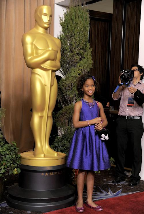 "Quvenzhane Wallis, nominated for best actress in a leading role for ""Beasts of the Southern Wild,"" arrives at the 85th Academy Awards Nominees Luncheon at the Beverly Hilton Hotel on Monday, Feb. 4, 2013, in Beverly Hills, Calif. (Photo by Chris Pizzello/Invision/AP)"