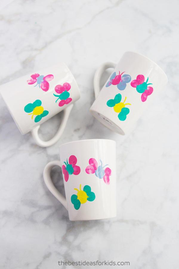 Fingerprint butterfly mug painting