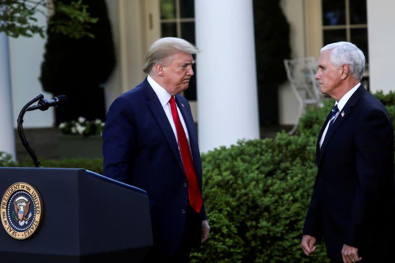 No plans to separate Trump, Pence despite White House coronavirus cases - source