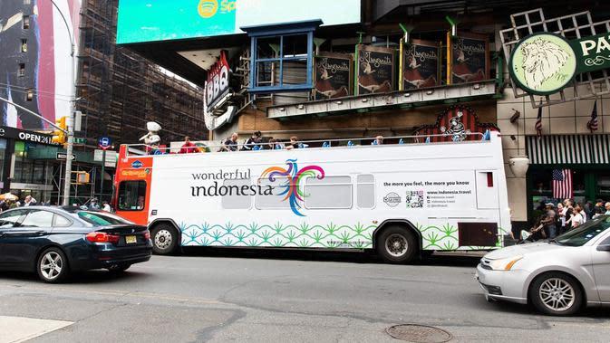 Wonderful Indonesia mejeng 2 kota besar di negeri Paman Sam yang disambangi, yaitu New York dan Los Angeles.