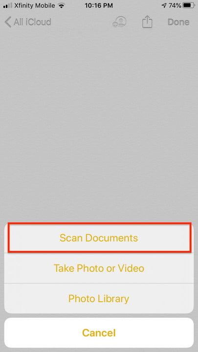 Scan with notes