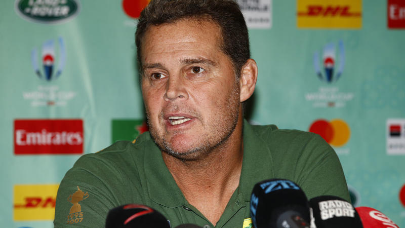 Rassie Erasmus, pictured here during a media conference at the World Cup.
