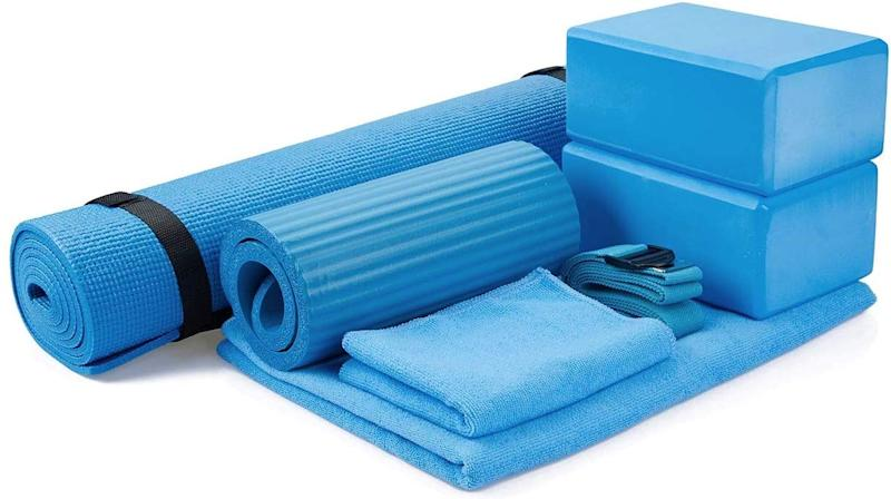 The BalanceFrom GoYoga 7-Piece Set includes everything you'll need to practice yoga from home.