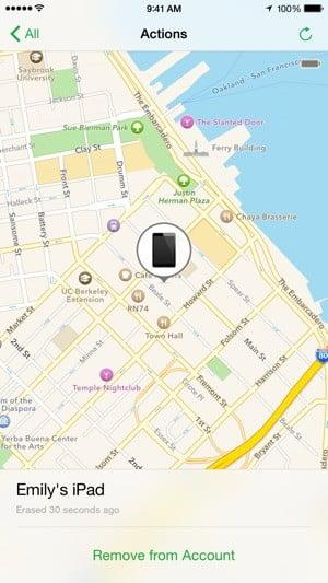 Screenshot of the Find My iPhone app showing a map and the location of a device