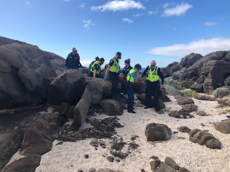Police, ambulance and helicopter officers rescued the boy from near Yallingup, WA