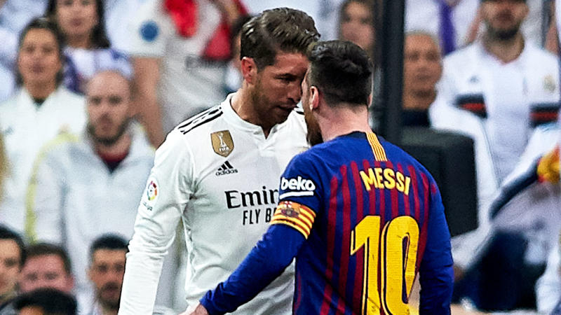 Real Madrid's Sergio Ramos and Barcelona's Lionel Messi come face-to-face during the El Classico match.