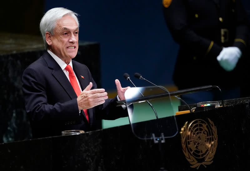 Chile's President Sebastian Pinera addresses the 74th session of the United Nations General Assembly at U.N. headquarters in New York City, New York, U.S.
