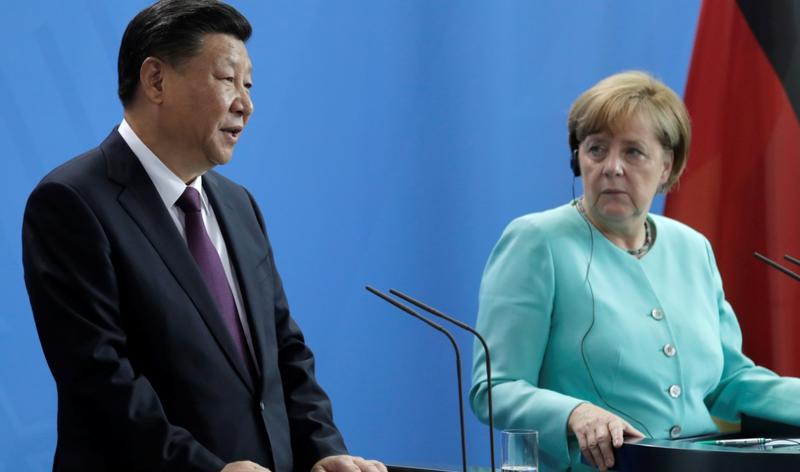 德國總理梅克爾與中國領導人習近平圖:AP image