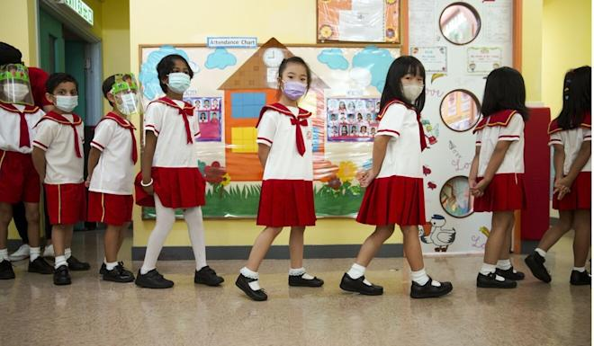 Pupils returned to Sun Island English Kindergarten's Belcher branch in smaller numbers. Winson Wong