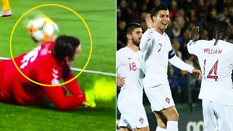 Ronaldo had Lithuania's goalkeeper to thank for one of his four goals.