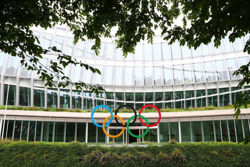 The Olympic rings are pictured in front of the IOC in Lausanne