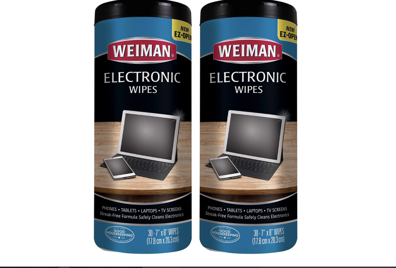 "<p><strong>Weiman</strong></p><p>amazon.com</p><p><strong>$15.98</strong></p><p><a href=""https://www.amazon.com/dp/B06ZYWT3GX?tag=syn-yahoo-20&ascsubtag=%5Bartid%7C10055.g.33599453%5Bsrc%7Cyahoo-us"" target=""_blank"">Shop Now</a></p><p>Pre-moistened and ready-to-use, Weiman's wipes <strong>remove dust, fingerprints and other greasy smudges and smears without any harsh ingredients that could damage delicate screens</strong>, all reasons that helped them earn our <a href=""https://www.goodhousekeeping.com/institute/about-the-institute/a22148/about-good-housekeeping-seal/"" target=""_blank"">Good Housekeeping Seal</a>. In our Cleaning Lab tests, they were well-sized to use on large and small devices, worked quickly, and cleaned well. Screens dried fast and without any excess moisture, streaks or residue left behind. We also like using Weiman pre-moistened wipes to remove grime from keyboards and for spot cleaning, too.   </p>"