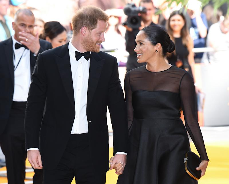 The Duke of Sussex and The Duchess of Sussex at the European Premiere of The Lion King, Odeon Cinema, Leicester Square, London. Photo credit should read: Doug Peters/EMPICS