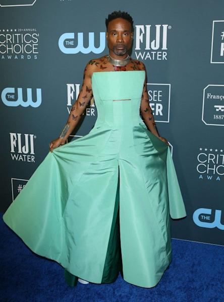 The 'Pose' nominee is the epitome of glamour on the Critics' Choice Awards red carpet.