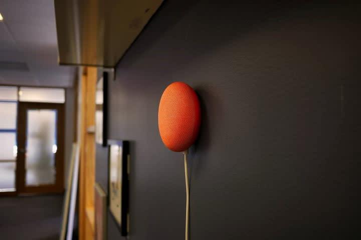 Google Nest Mini on wall