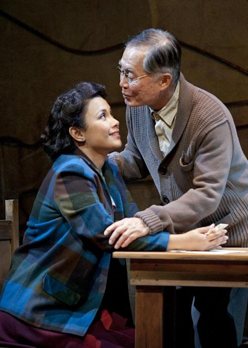 "This undated image released by The Old Globe shows actress Lea Salonga as Kei Kimura, left, and actor George Takei as Ojii-san during a performance of the musical ""Allegiance,"" performing Sept. 7 - Oct. 21, 2012 at The Old Globe in San Diego. (AP Photo/The Old Globe, Henry DiRocco)"